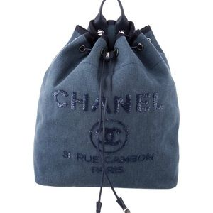Chanel deauville navy backpack. like new!